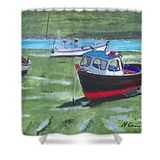 Boats Low Tide Emsworth Shower Curtain