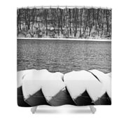 Boats - Lower Twin Lake Bw Shower Curtain