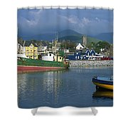 Boats Moored At A Harbor, Dingle Shower Curtain