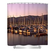 Boats Moored At A Harbor, Stearns Pier Shower Curtain