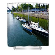 Boats Moving Into Chittenden Locks Seattle Shower Curtain