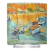 Boats Of Galveston Shower Curtain