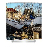 Boats Of Sandy Shower Curtain