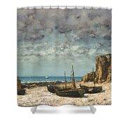 Boats On A Beach, Etretat Shower Curtain