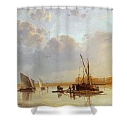 Boats On A River Shower Curtain
