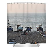 Boats On Beach Shower Curtain