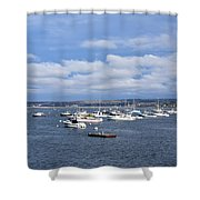 Boats On Blue Water Shower Curtain