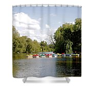 Boats On Markeaton Lake Shower Curtain