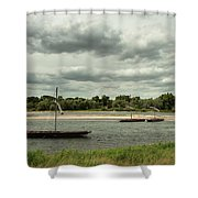 Boats On River Loire - France Shower Curtain