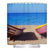 Boats On The Beach, Aguadilla, Puerto Shower Curtain