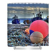Boats On The Beach At Beer Shower Curtain