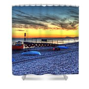 Boats On The Beach At Branscombe  Shower Curtain