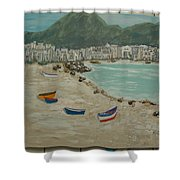 Boats On The Beach In Spain Shower Curtain
