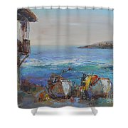 Boats On The Cost Shower Curtain