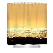 Boats On The Golden Horizon Shower Curtain