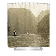 Boats On The River Tam Coc No1 Shower Curtain