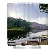 Boats On The Shore. Shower Curtain