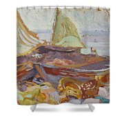 Boats On The Shore Shower Curtain