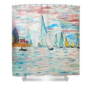 Boats On Water Monet  Shower Curtain