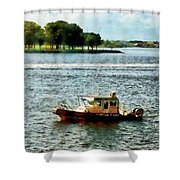 Boats - Police Boat Norfolk Va Shower Curtain by Susan Savad