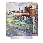 Boats Yard In Villajoyosa Spain Shower Curtain