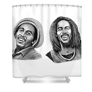 Bob And Bob Marley Shower Curtain