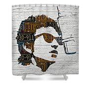 Bob Dylan Minnesota Native Recycled Vintage License Plate Portrait On White Wood Shower Curtain