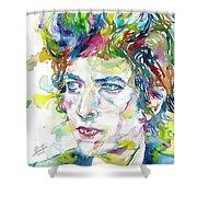 Bob Dylan - Watercolor Portrait.19 Shower Curtain