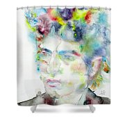 Bob Dylan - Watercolor Portrait.4 Shower Curtain