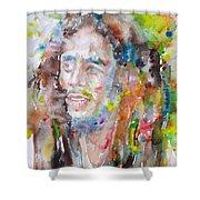 Bob Marley - Watercolor Portrait.17 Shower Curtain