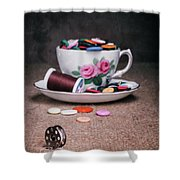 Bobbin And Buttons Shower Curtain