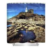 Bob's Cave At Mumbles Lighthouse Shower Curtain