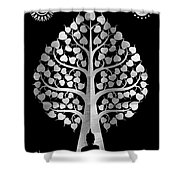 Bodhi Tree_iv_gold05_greyscale Shower Curtain