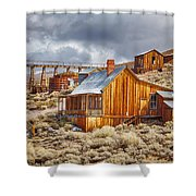 Bodie Stamp Mill, Sunrise With A Dusting Of Snow Shower Curtain