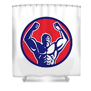 Body Builder Flexing Muscles Circle Retro Shower Curtain