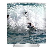 Body Surfing The Ocean Waves Shower Curtain
