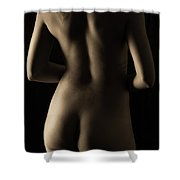 Bodyscape From Behind Shower Curtain