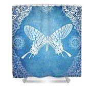 Bohemian Ornamental Butterfly Deep Blue Ombre Illustratration Shower Curtain