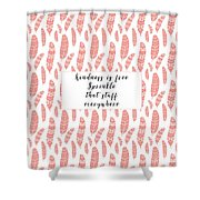 Bohemian Feathers Coral  Kindness Is Free Shower Curtain
