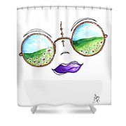 Boho Gypsy Daisy Field Sunglasses Reflection Design From The Aroon Melane 2014 Collection By Madart Shower Curtain