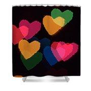 Bokeh Hearts 3 Shower Curtain