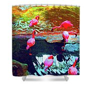 Bold Modified Flamingoes Shower Curtain