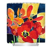 Bold Quilted Tulips Shower Curtain