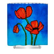 Bold Red Poppies - Colorful Flowers Art Shower Curtain