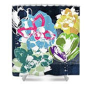 Bold Succulents 2- Art By Linda Woods Shower Curtain by Linda Woods