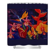 Bold Tropical Flowers Shower Curtain