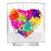 Bold Watercolor Heart - Digital Art Shower Curtain
