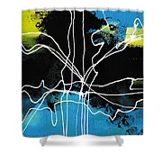 Bold White Lines Three Shower Curtain