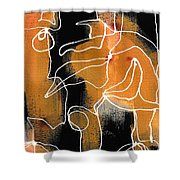 Bold White Lines Two Shower Curtain