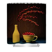 Bold Yellow With Raspberries Shower Curtain